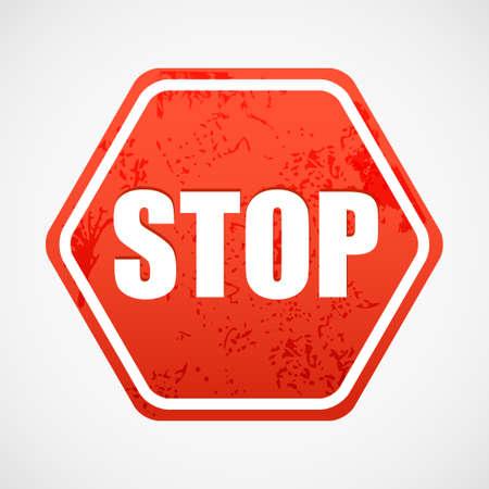 polyhedron: Grunge se�al de stop en el poliedro