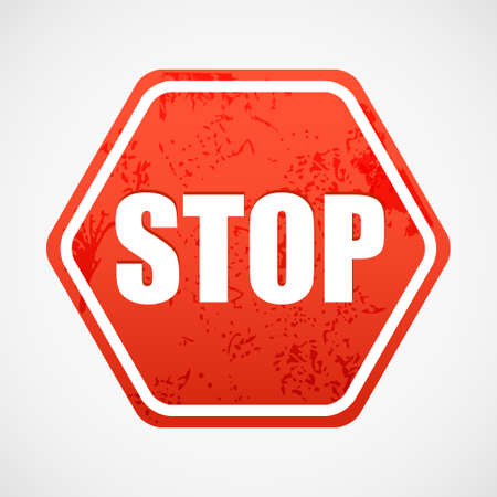 Grunge stop sign in polyhedron Vector