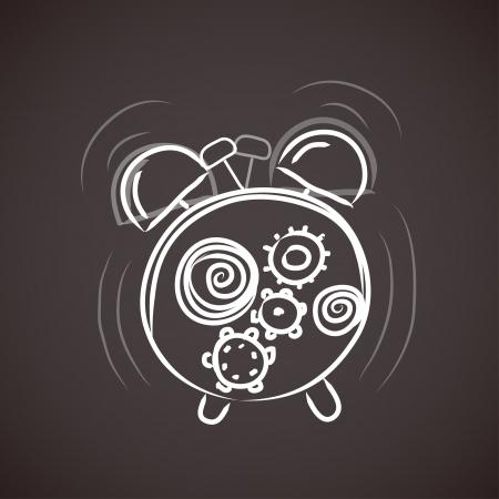 despertarse: la alarma del reloj viejo boceto Vectores