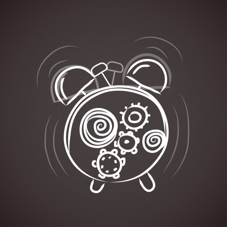 old alarm clock sketch Vector
