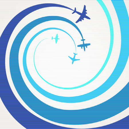 interceptor: Airplanes with the spiral trajectories Illustration