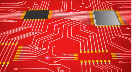 micro chip: Red abstract chip background Illustration