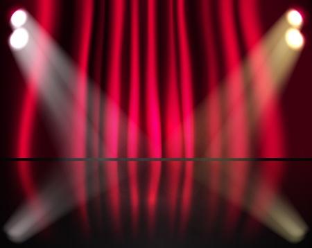 Iluminación escenario con cortinas rojas