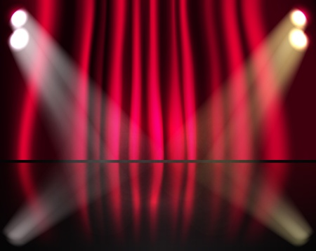 laser show: Lighting stage with red curtains