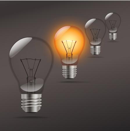 bombillo ahorrador: lámparas realistas en perspectiva Vectores