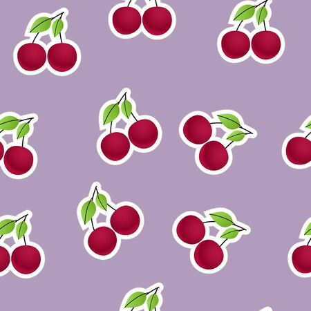 Red cherry on violet  Seamless background Vector