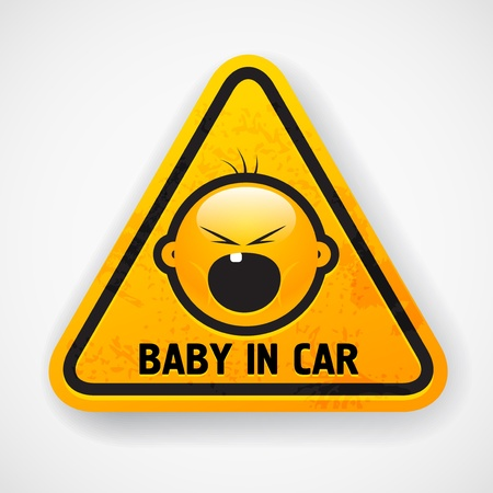 warning triangle: Car decal with the screaming baby`s face