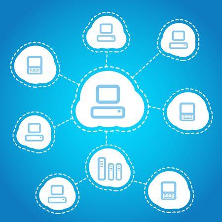 Computer communication scheme  Social media Stock Vector - 12837397