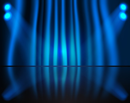 Lighting stage with blue curtain Vector