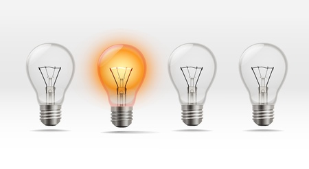 bombillo ahorrador: Cuatro l�mparas realistas en una fila