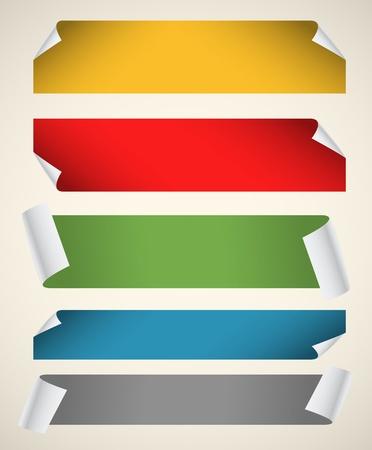 peri�dico: Colecci�n de cintas de papel de color blanco con las esquinas de flexi�n Vectores