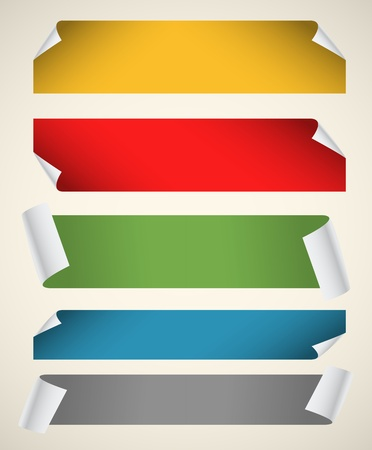 newspaper blank: Collection of color blank paper ribbons with bending corners Illustration