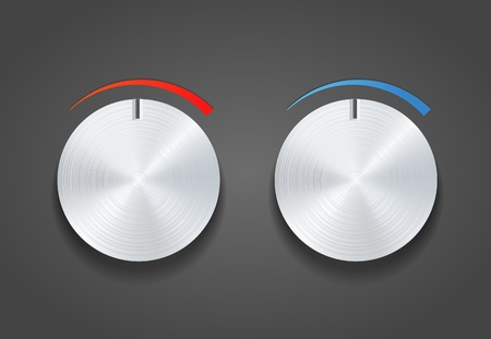 Two Metal knob on grey  Vector