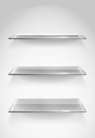 display stand: Three empty advertising glass shelves on the wall Illustration