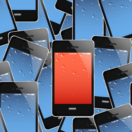 Mobile phones seamless background  Vector