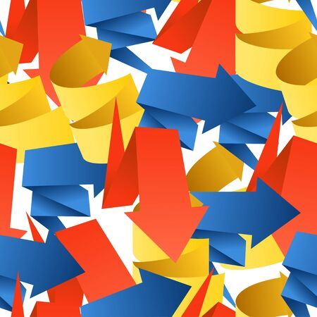 Colorful polygonal origami arrows seamless background Vector