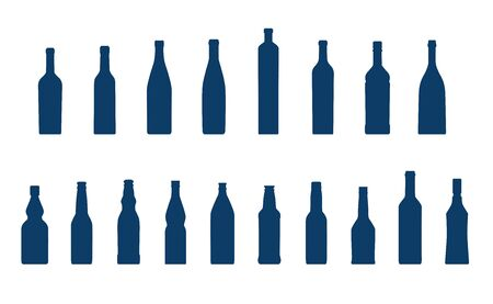cold storage: Different bottles collection Illustration