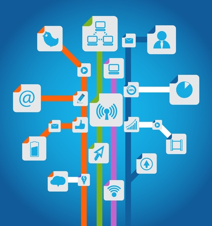 communicatie: Moderne sociale media abstracte regeling