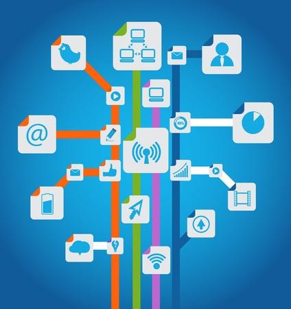 e commerce icon: Moderno sistema de medios de comunicaci�n social abstracta