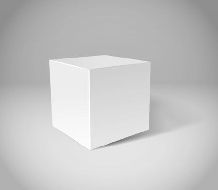 White plaster cube on grey scene Vector