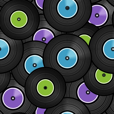 Vinyl audio discs seamless background Vector