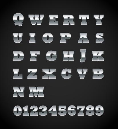 Set of matte metal letters on black Vector
