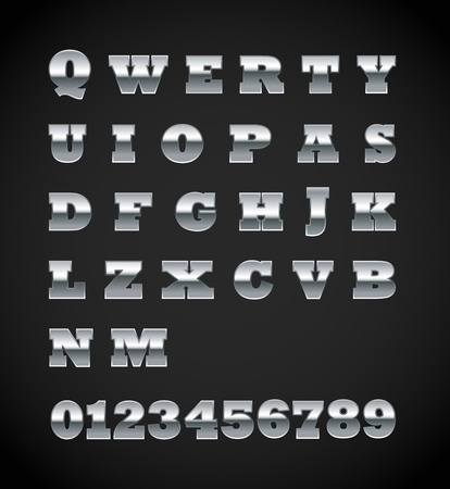 matte: Set of matte metal letters on black