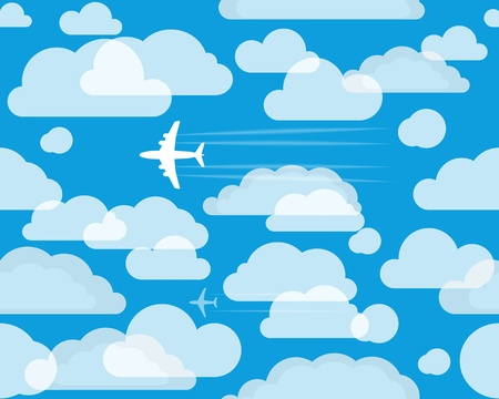 Planes in the cloudly sky Stock Vector - 13184552
