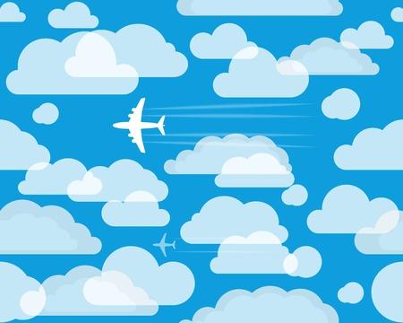 Vliegtuigen in de cloudly hemel
