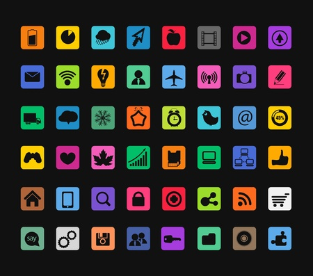 it tech: Modern color icons collection