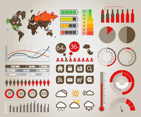 stat: Infographics  Earth map and different charts and symbols Illustration