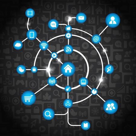 Moderno sistema de medios de comunicación social abstracta