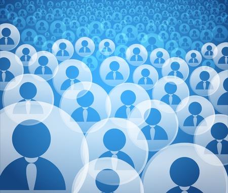 workflow: R�sum� de la foule sociaux ic�nes compte des m�dias Illustration