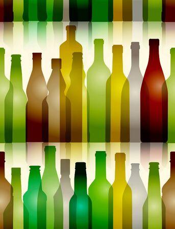 whisky bottle: Different color glass bottles seamless background Illustration