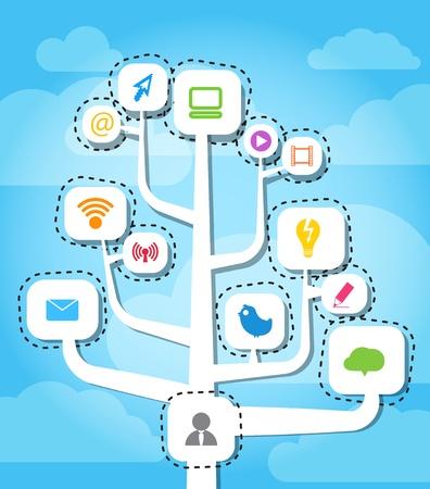 디지털: 현대 소셜 미디어 추상적 인 방식 일러스트
