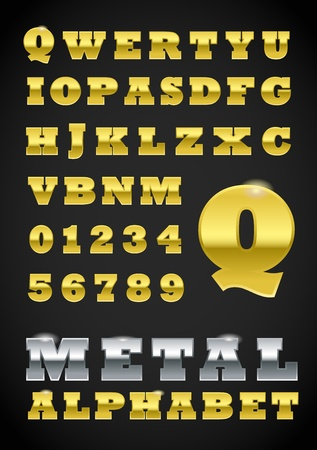 Set of metal vector letters Vector