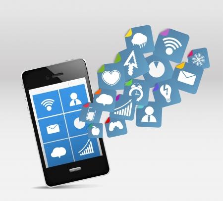 Điện thoại di động hiện đại và phương tiện truyền thông xã hội Hình minh hoạ