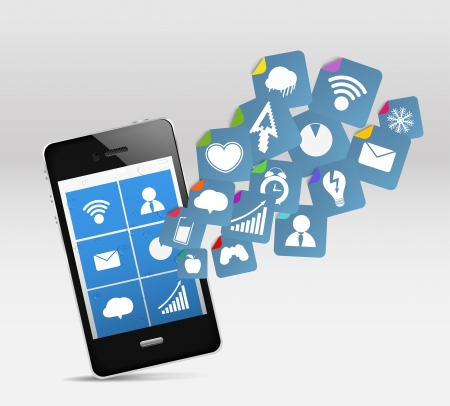 relaciones publicas: Moderno tel�fono m�vil y las redes sociales