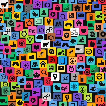online world: Modern color social media icons seamless texture Illustration