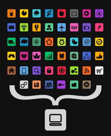 mobile communication: Modern color icons collecting into personal computer symbol