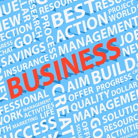 Background of 3d different business words Vector