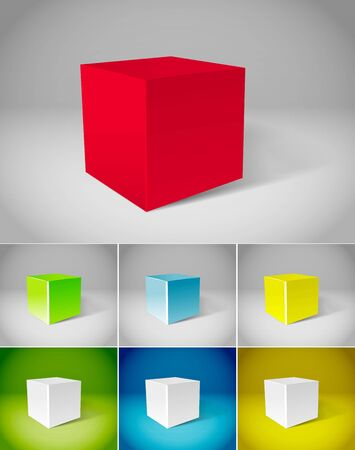 Color plaster cubes collection Vector