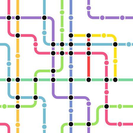 estación del metro: Resumen de color de fondo del metro esquema sin fisuras