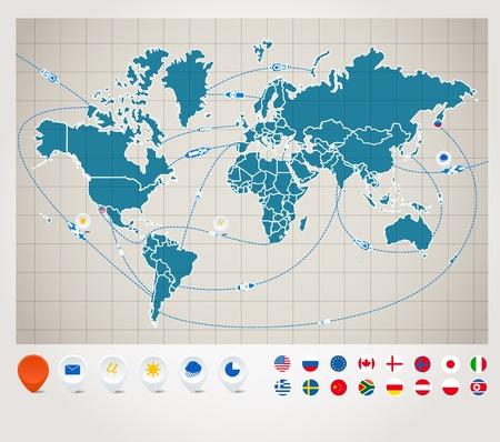 bandiere del mondo: Infografica mappa del mondo con il monitoraggio delle navi Vettoriali