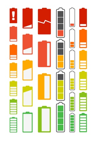 Different battery indicators collection Vector