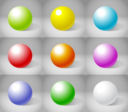 Nine color plaster spheres collection Stock Vector - 13407952