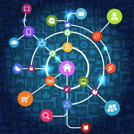 electronic scheme: Modern social media abstract scheme
