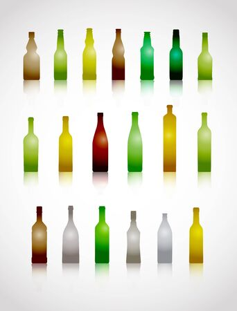 glass bottles collection isolated on white Vector