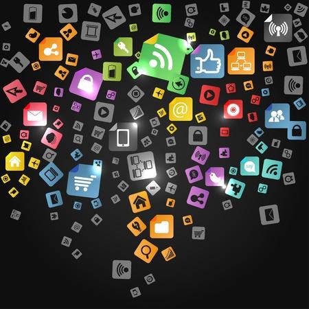 通訊: 現代社會的抽象媒體圖標倒下