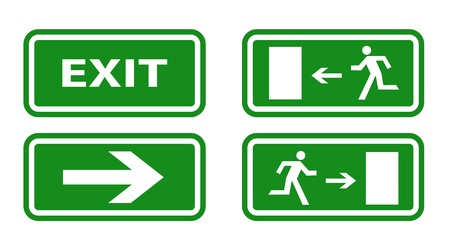 exit emergency sign: Escape boarders collection isolated on white